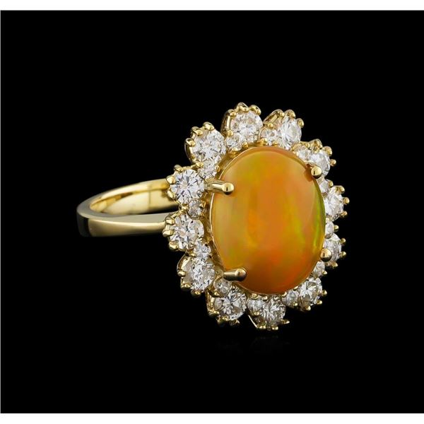 2.55 ctw Opal and Diamond Ring - 14KT Yellow Gold