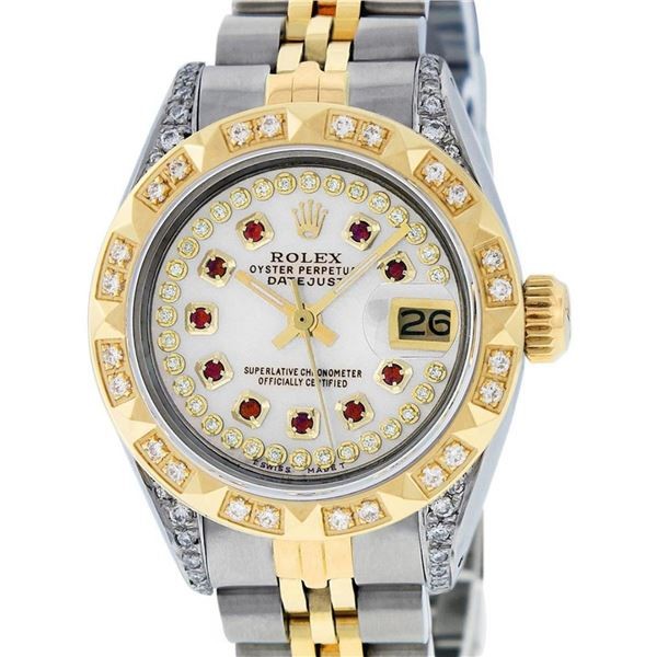 Rolex Ladies 2 Tone MOP Ruby & Pyramid Diamond Lugs Oyster Perpetual Datejust Wr