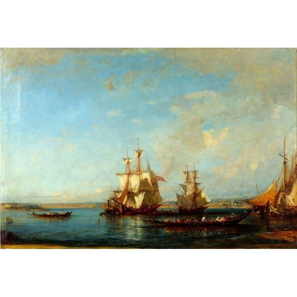 Felix Ziem - Caiques and Sailboats at the Bosphorus