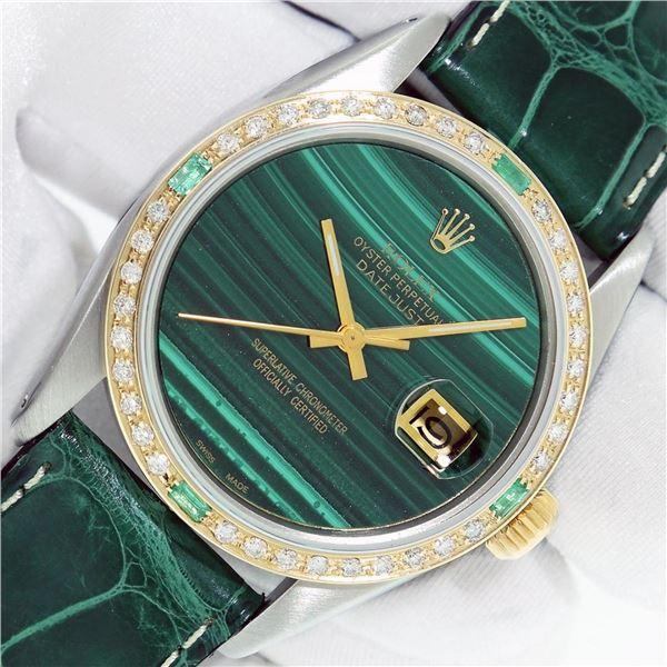 Rolex Datejust Mens 36 Green Malachite Diamond Bezel 18K/SS Oyster Perpetual Wit