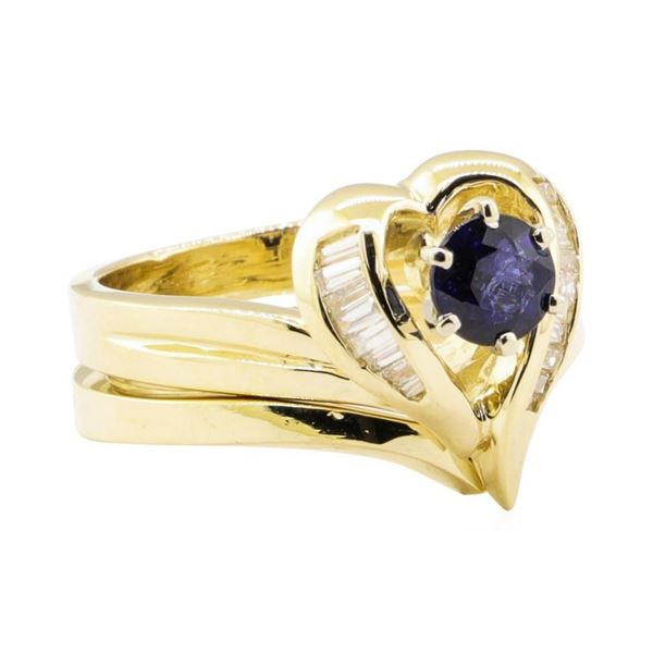 0.92 ctw Blue Sapphire And Diamond Ring And Band - 14KT Yellow Gold