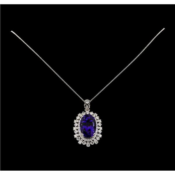 20.96 ctw Tanzanite and Diamond Pendant With Chain - 14KT White Gold