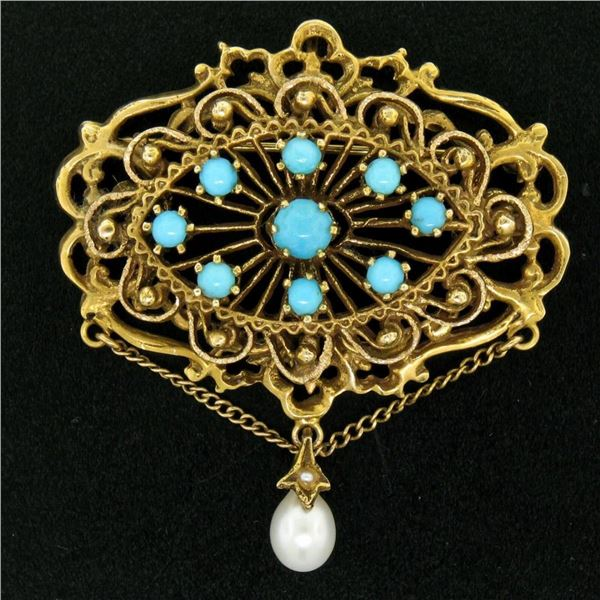 Vintage 14k Yellow Gold Round Turquoise & Pearl Open Work Brooch Pin Pendant