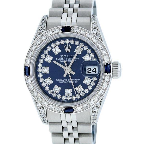 Rolex Ladies Stainless Steel Quickset Sapphire Blue Diamond Lugs Datejust Wristw