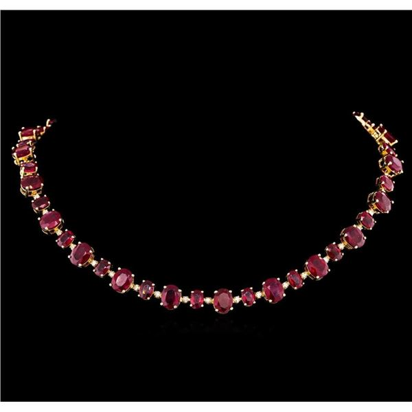 14KT Yellow Gold 44.89 ctw Ruby and Diamond Necklace