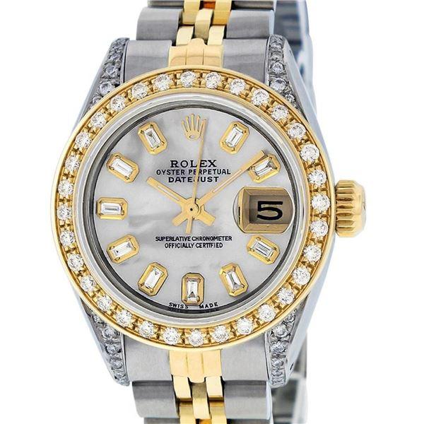 Rolex Ladies 2 Tone MOP Baguette Diamond Lugs 26MM Oyster Perpetual Datejust