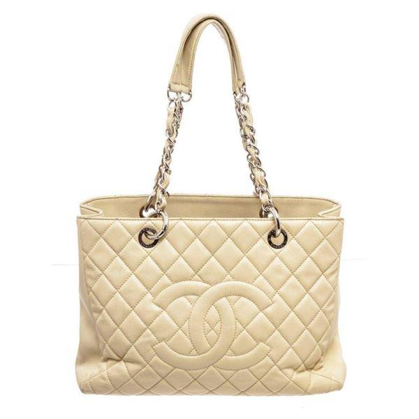 Chanel Light Beige Caviar Leather GST Shoulder bag