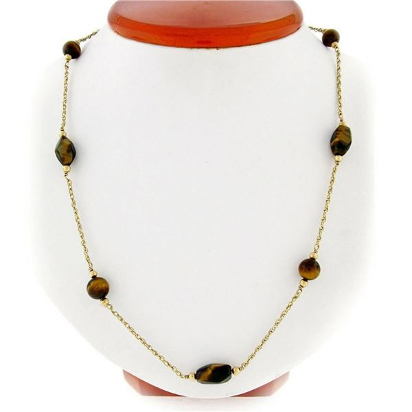 """Vintage 10kt Yellow Gold 26.5"""" Round & Custom Cut Tiger's Eye Bead Chain Necklac"""