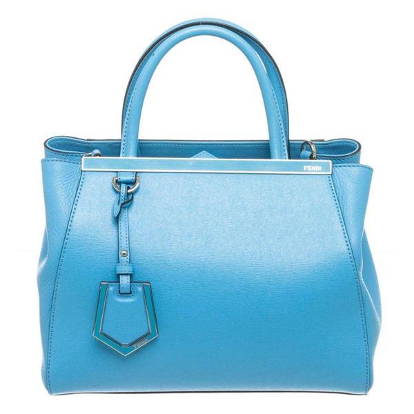 Fendi Blue Saffiano Leather Petite 2 Jours Tote Bag
