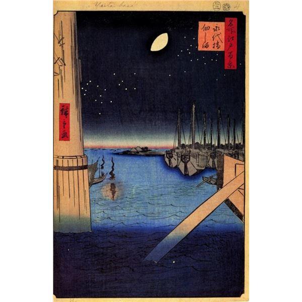 Hiroshige  - Tsukudajima from Eitai Bridge