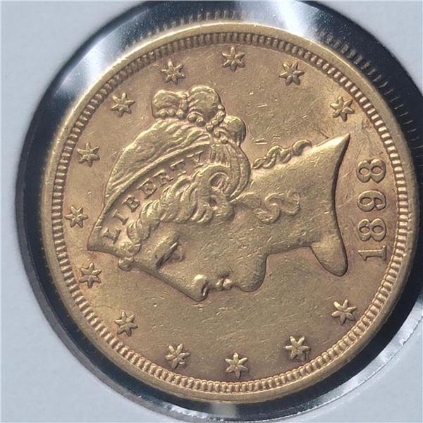 1898-S $5 Liberty Head Half Eagle AU