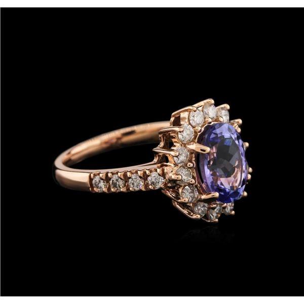 14KT Rose Gold 2.15 ctw Tanzanite and Diamond Ring