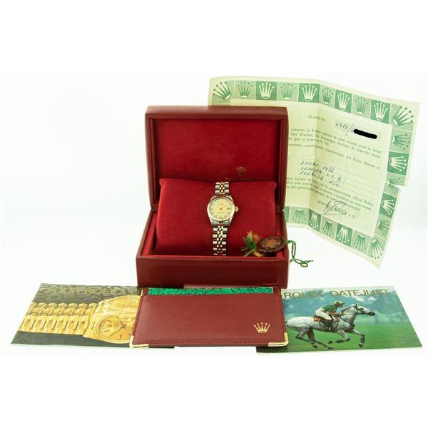 Rolex Datejust 26 Original Champagne Diamond Box Papers 18K/SS Yellow Gold Compl