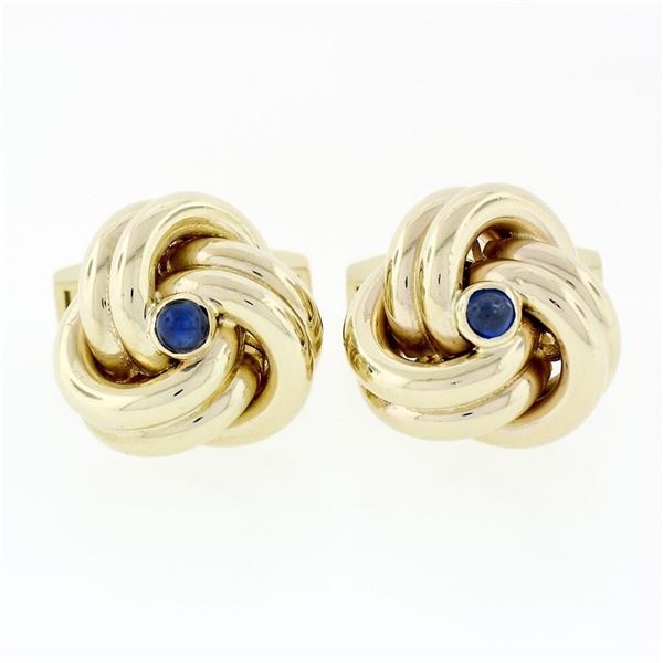 Men's Solid 14k Yellow Gold Sapphire Trinity Infinity Love Knot Heavy Cufflinks