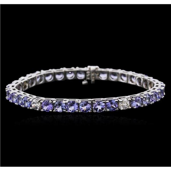 14KT White Gold 13.13 ctw Tanzanite and Diamond Bracelet