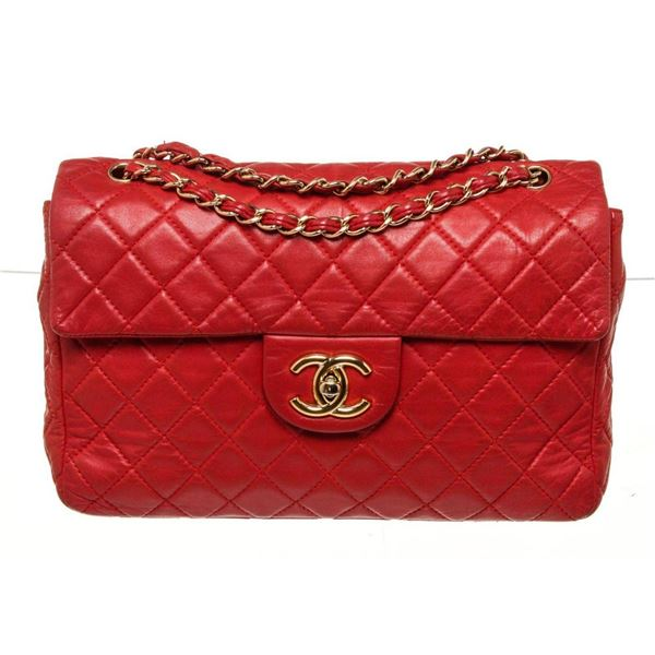 Chanel Red Classic Single Flap Shoulder Bag
