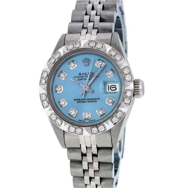 Rolex Ladies 26 Stainless Steel Blue Pyramid Diamond Datejust Wristwatch