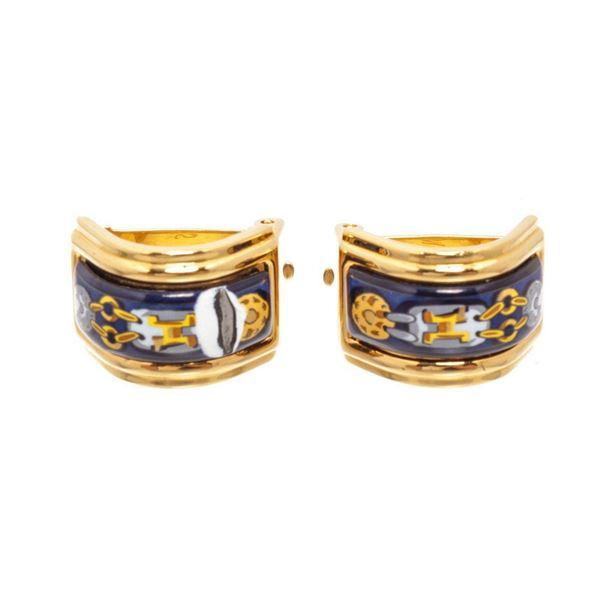 Hermes Gold Enamel Ear Clips Earring
