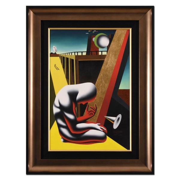 "Mark Kostabi, ""Gaining Perspective"" Framed Original Oil Painting on Canvas, Hand"