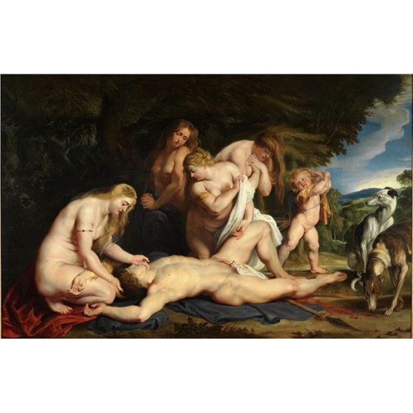 Sir Peter Paul Rubens - The Death of Adonis (with Venus, Cupid, and the Three Gr