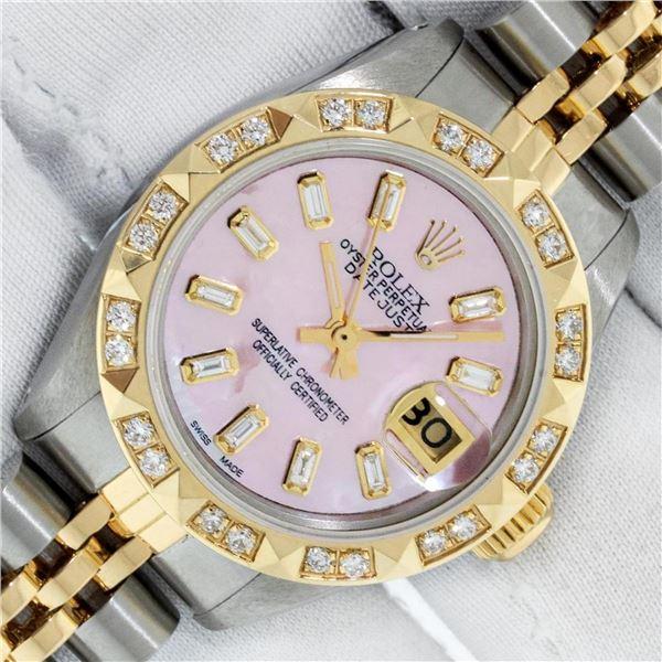 Rolex Ladies 26 2T Pink MOP Baguette 18K YG Diamond Bezel Serviced And Polished