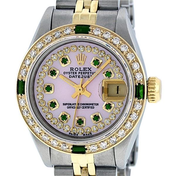 Rolex Ladies 2 Tone MOP Diamond & Emerald Oyster Perpetual Datejust Wristwatch