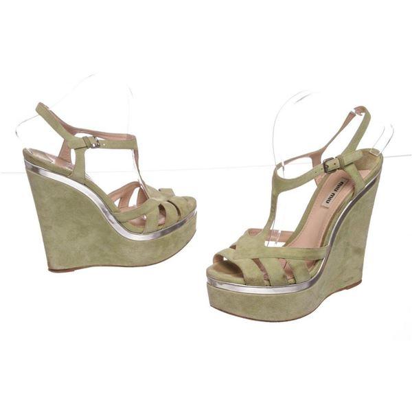Miu Miu Pistacchio Suede Camoscio Lame Wedges Heels Shoes 39