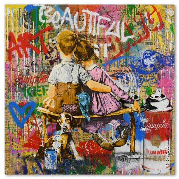 """Mr. Brainwash, """"Work Well Together"""" One-of-a-Kind Mixed Media (36"""" x 36""""), Hand"""