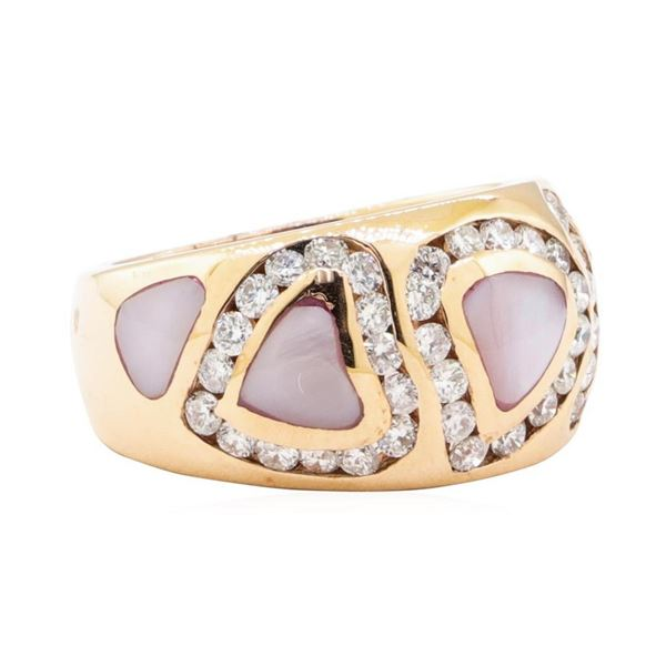 0.95 ctw Diamond and Mother of Pearl Ring - 14KT Rose Gold