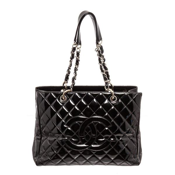 Chanel Black Patent Leather GST Tote Bag