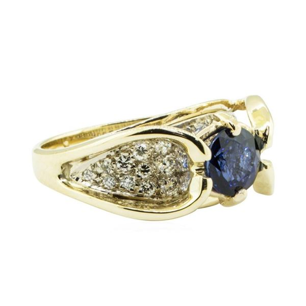 2.24 ctw Round Brilliant Blue Sapphire And Diamond Ring - 14KT Yellow And White