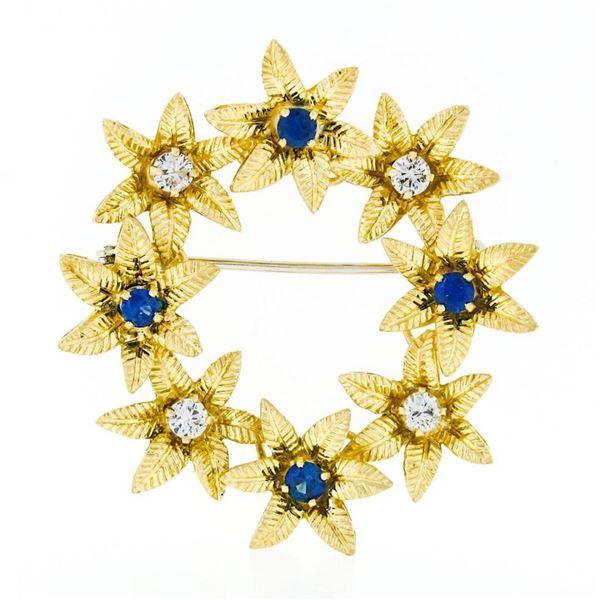 Vintage 18k Gold 1.19 ctw Brilliant Sapphire & Diamond Etched Flower Wreath Broo