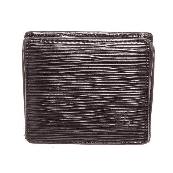 Louis Vuitton Black Epi Leather Boite Coin Case Wallet