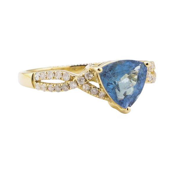 1.23 ctw Aquamarine and Diamond Ring - 14KT Yellow Gold