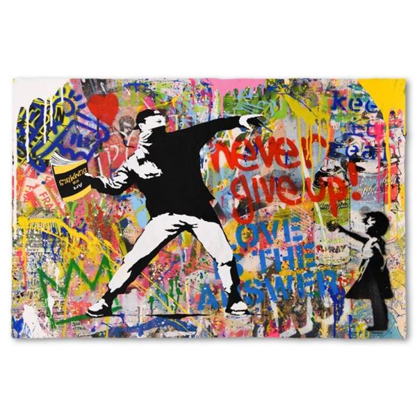 """Mr. Brainwash, """"Banksy Thrower"""" One-of-a-Kind Mixed Media (24"""" x 36""""), Hand Sign"""