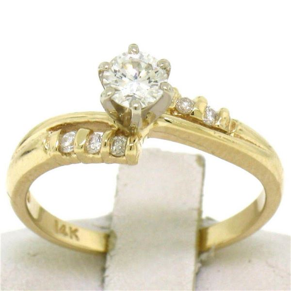 14k Solid Yellow Gold 0.40 ctw Round Brilliant Diamond Solitaire Engagement Ring