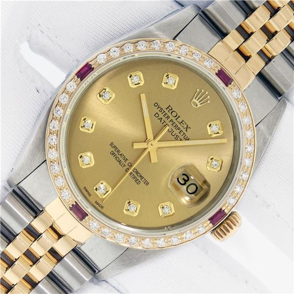 Rolex Mens 2 Tone Champagne Diamond & Ruby 36MM Datejust Wriswatch Oyster Perpet