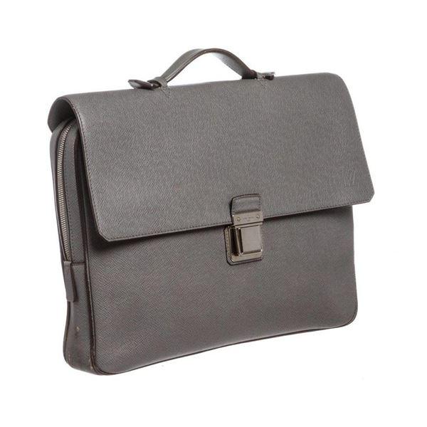 Louis Vuitton Gray Taiga Leather Vassili GM Briefcase Bag