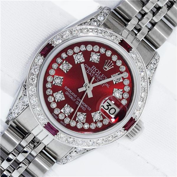 Rolex Ladies Stainless Steel 26MM Red Diamond Lugs 26MM Datejust Wristwatch With