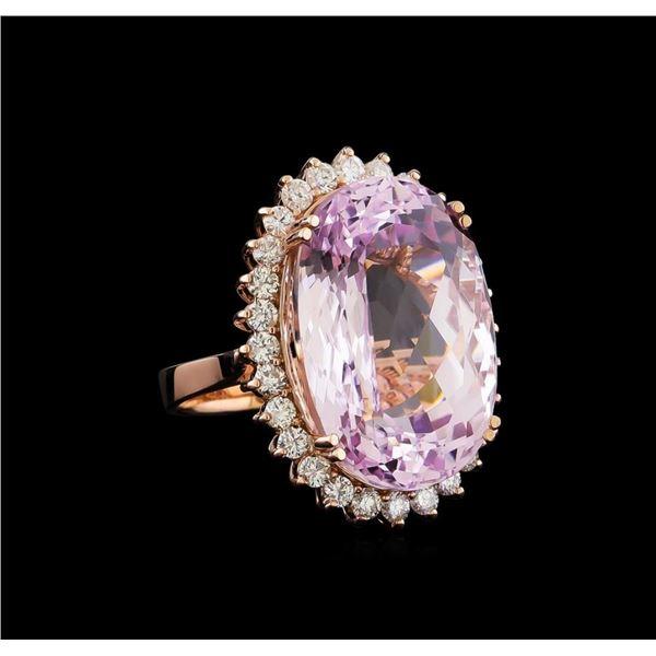 33.17 ctw Kunzite and Diamond Ring - 14KT Rose Gold