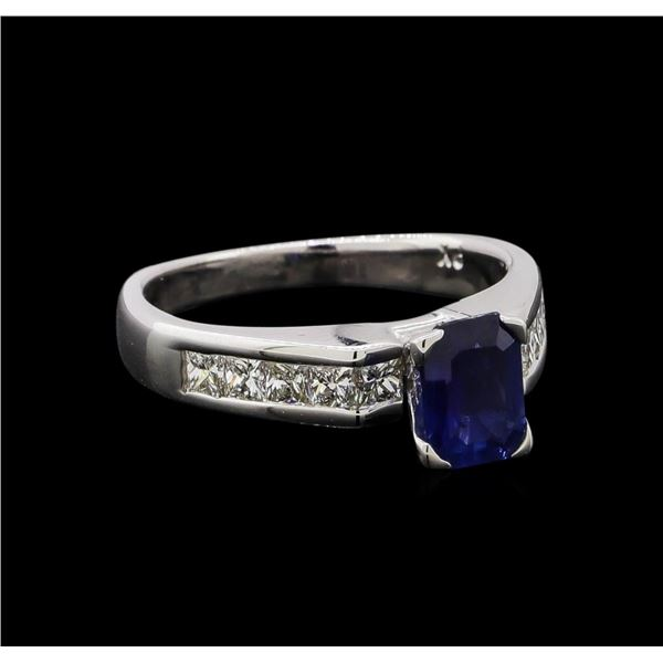 0.95 ctw Sapphire and Diamond Ring - 14KT White Gold