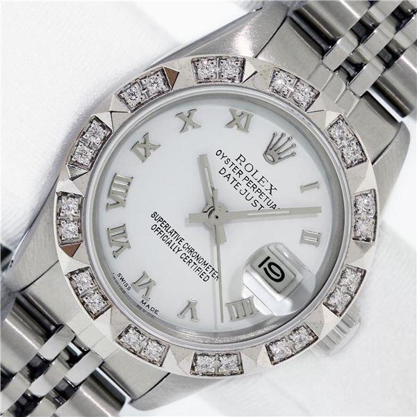 Rolex Ladies Stainless White Roman Pyramid Diamond Datejust Wristwatch With Role