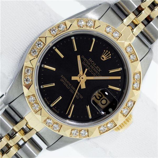 Rolex Ladies 2 Tone Black Index & Pyramid Diamond Oyster Perpetual Datejust Wris