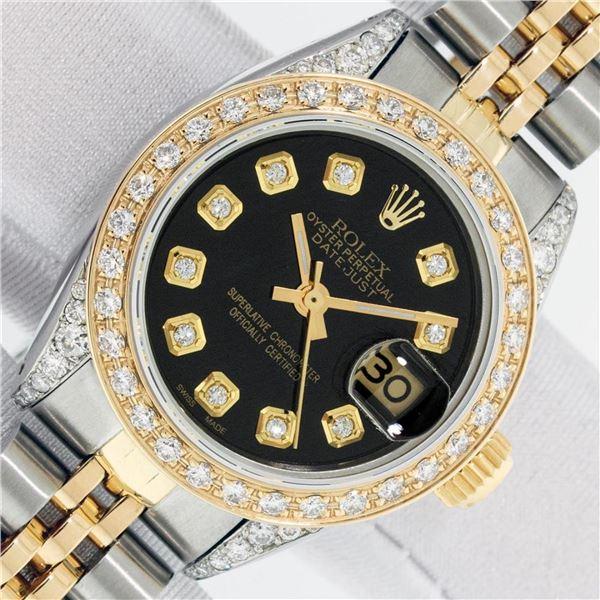 Rolex Ladies 2 Tone Black Diamond Lugs Oyster Perptual Datejust Wristwatch With