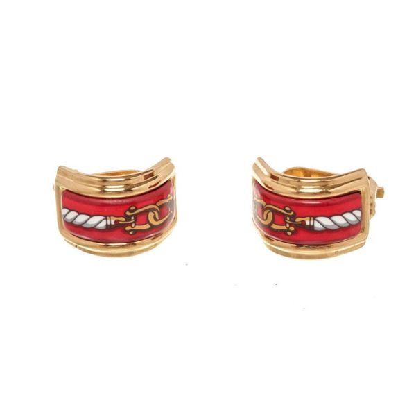Hermes Multicolor Enamel Clip on Earring
