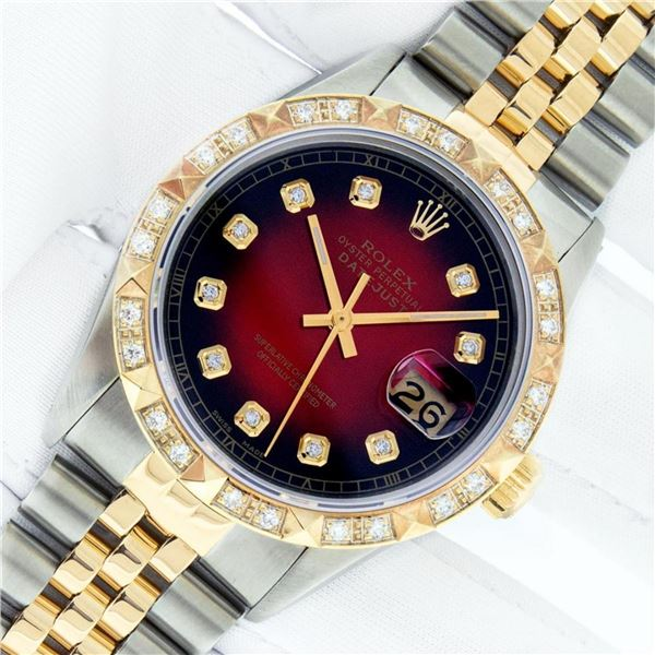 Rolex Mens 2 Tone Red Vignette Pyramid Diamond 36MM Oyster Perpetual Datejust Wi