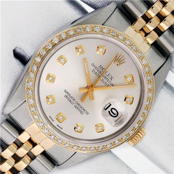 Rolex Mens 2 Tone Silver Diamond Datejust 36MM Wristwatch Oyster Perpetual