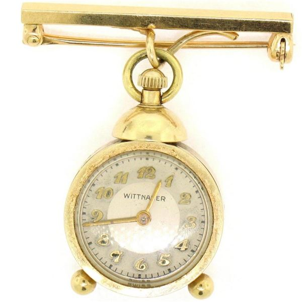 Vintage Unique 14K Yellow Gold Wittnauer 17 Jewel Mechanical Watch Pin Brooch