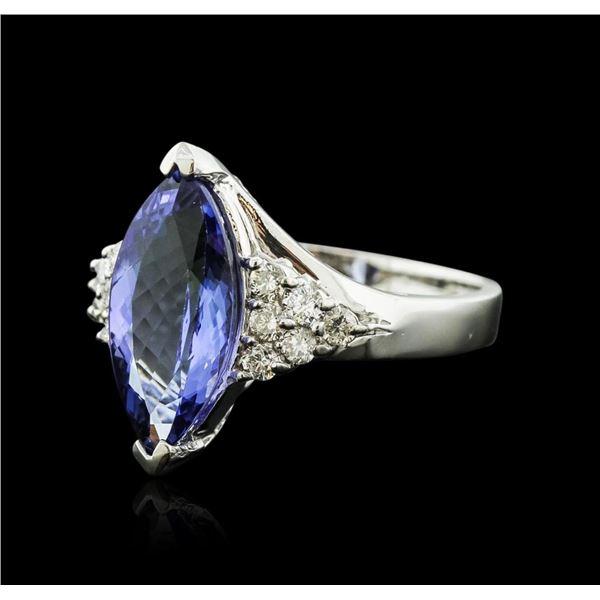14KT White Gold 3.70 ctw Tanzanite and Diamond Ring