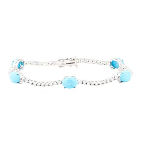 7.44 ctw Turquoise And Diamond Bracelet - 14KT White Gold